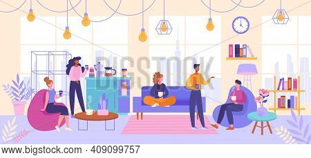 Coffee Break Concept. Diverse Multiracial Young Men And Women Are In Open Space, Coworking Or Loft A