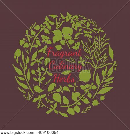 Fragrant Culinary Herbs Poster With Cricle Composition Made By Filled With One Color Herbals. Hand D