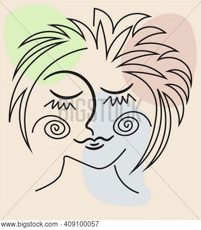 Vector Image Abstract Face Line Drawing. Portrait Of Smiling Young Woman With Shut Eyes Minimalistic