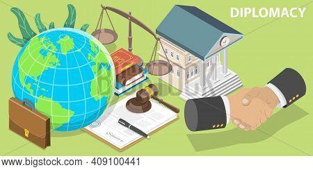 3d Isometric Flat Vector Conceptual Illustration Of Diplomacy.