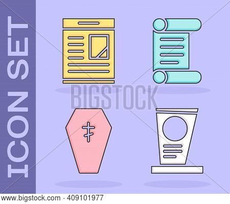 Set Grave With Tombstone, Obituaries, Coffin With Cross And Decree, Parchment, Scroll Icon. Vector