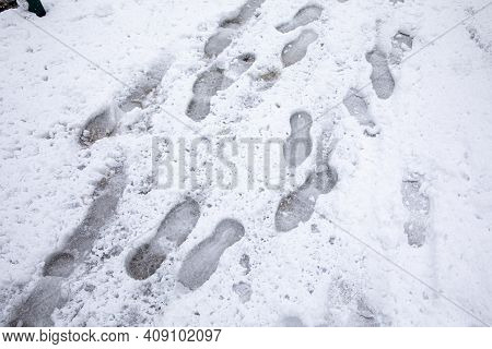 Shoeprints In Snow - Athens, Greece, 15th Of February 2021.