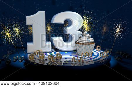 Cupcake With Sparkling Candle For 13th Birthday Or Anniversary With Big Number In White With Yellow