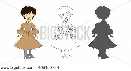 Portrait Of A Beautiful Brunette Young Woman Wearing A Vintage Dress. Vector Image. Young Woman Stan
