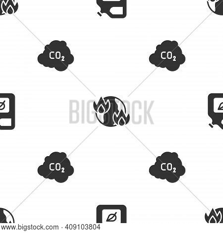 Set Bio Fuel Canister, Global Warming Fire And Co2 Emissions Cloud On Seamless Pattern. Vector