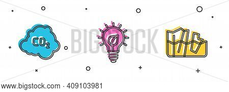 Set Co2 Emissions In Cloud, Light Bulb With Leaf And Glacier Melting Icon. Vector