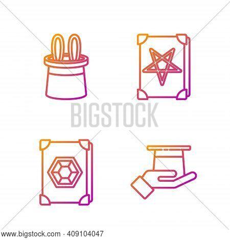 Set Line Magician Hat In Hand, Ancient Magic Book, Magician Hat And Rabbit Ears And Ancient Magic Bo