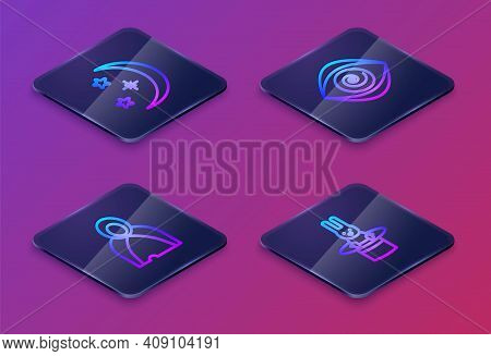 Set Isometric Line Moon And Stars, Mantle, Cloak, Cape, Hypnosis And Magician Hat Rabbit. Blue Squar