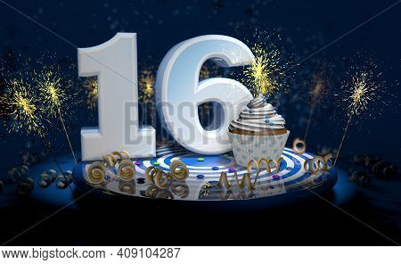 Cupcake With Sparkling Candle For 16th Birthday Or Anniversary With Big Number In White With Yellow