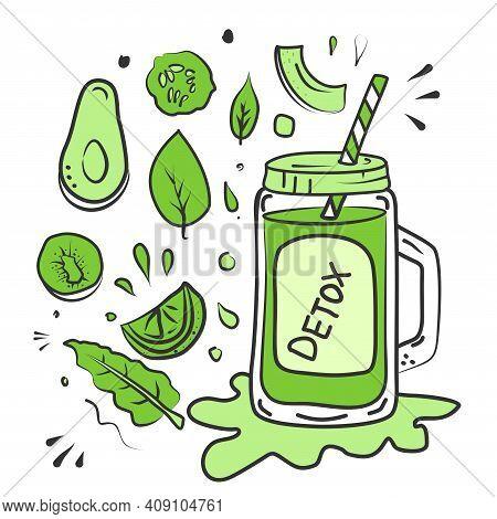 Detox Day Diet Poster. Sirtfood Diet.green Smoothie Ingredients
