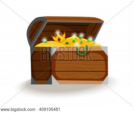Treasure Chest Isometric Cartoon. Wooden Open Box Full Of Gold Coins, Jewels And Royal Crown. Precio
