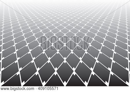 Abstract Geometric Diamonds Grid Pattern In Diminishing Perspective View. Vector Art.