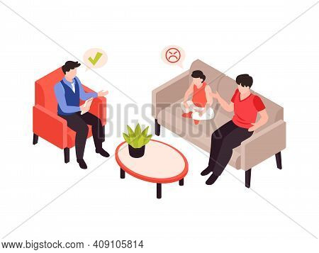 Psychologist Psychiatrist Isometric Composition With Stress Behavior Mental Problems Treatment Sessi