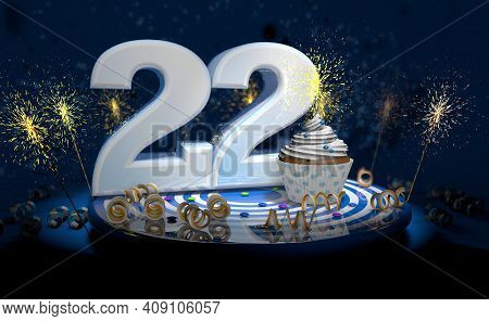 Cupcake With Sparkling Candle For 22th Birthday Or Anniversary With Big Number In White With Yellow