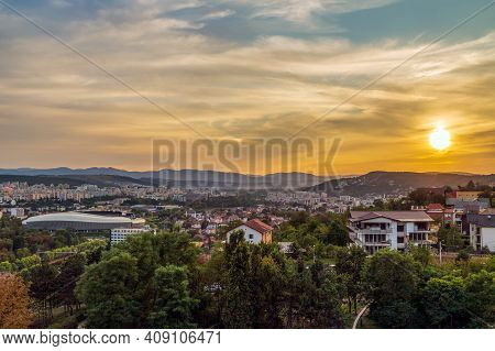 Cluj-napoca, Romania - September 20, 2020: Panoramic And Aerial View Over The City From Citadel Hill