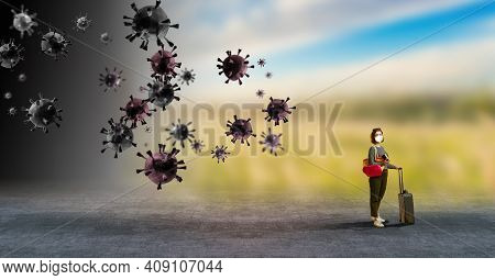 Stronger Immunity - Better Disease Resistance. Young Woman Surrounded By Viruses On Light Background