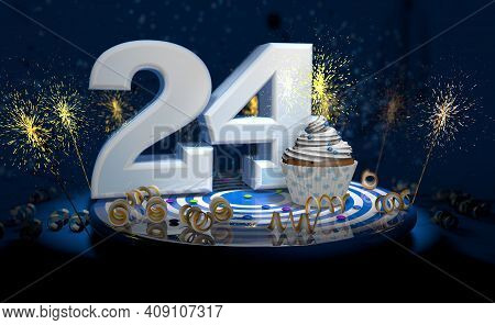 Cupcake With Sparkling Candle For 24th Birthday Or Anniversary With Big Number In White With Yellow