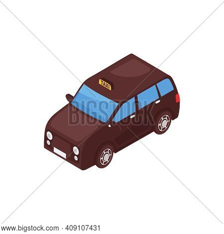 Isometric Industrial City Composition With Isolated Image Of Taxi Cab Car Vector Illustration