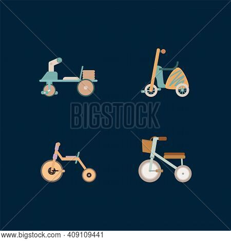 A Set Of Children's Bicycles. Two-wheeled And Three-wheeled Bicycles. Bicycle Illustration, Bicycle