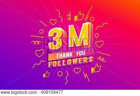 Thank You 3 Million Followers, Peoples Online Social Group, Happy Banner Celebrate, Vector