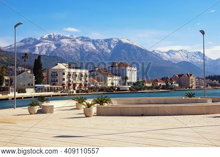 Beautiful Mediterranean Landscape On Sunny Winter Day.   Montenegro. View Of Tivat City And Snow-cap