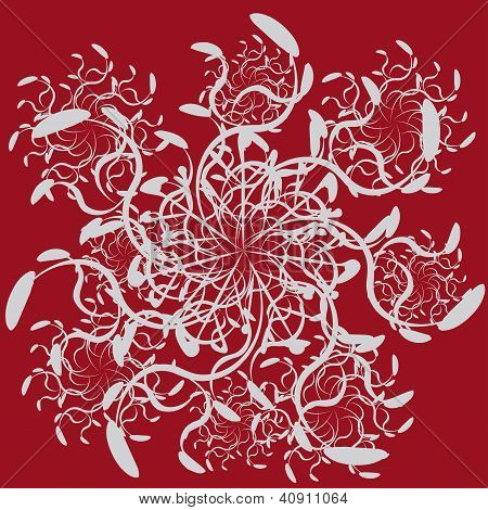 Abstract Ornament On Red Background