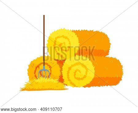 Roll of hay.Round hay bales. Dried haystack with fork isolated on white background. Farming haymow bale hayloft illustration, haystack, hayrick
