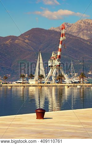 Port. Montenegro, Tivat City. View Of Porto Montenegro Marina From The Embankment