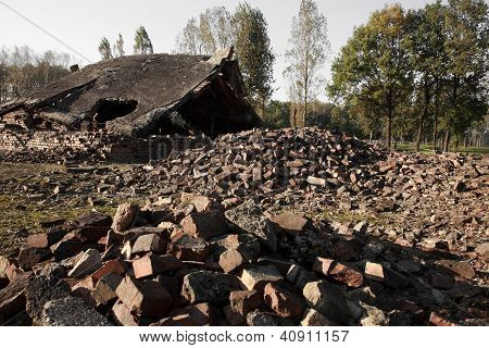 Rubble From The Destroyed Gas Chambers At Auschwitz