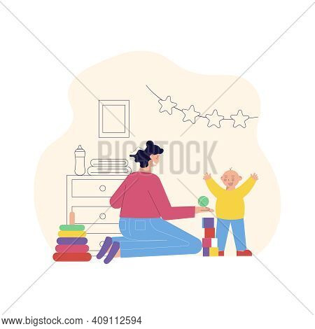 Babysitting Entertainment Educational Activities Flat Composition With Nanny Playing Toys With Infan