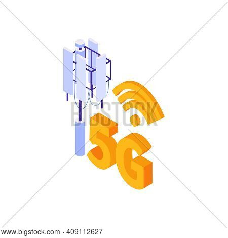 Isometric 5g Internet Composition With Icons Of High Speed Internet With Wireless Icon And Antenna V