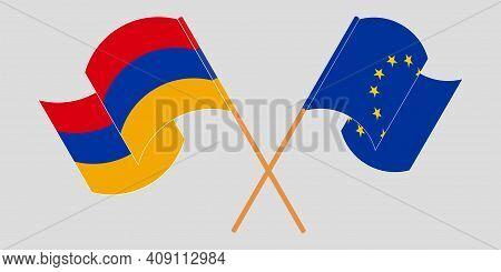 Crossed And Waving Flags Of Armenia And The Eu. Vector Illustration