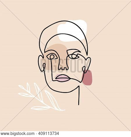 Continuous Linear Drawing Of Woman Face With Abstract Floral Elements, Fashion Concept, Woman Beauty