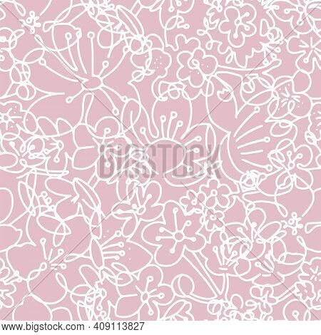 Pink And White Floral Seamless Pattern. Cherry Flowers Graphic Background. Silhouette Linear Art. On
