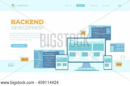 Backend Development, Coding, Software Engineering, Programming Languages. Program Code On Laptop Scr