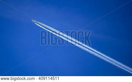 Bucharest, Romania - January 21, 2021: A Cargolux Boeing 747 Plane Is Seen Flying On The Sky In Buch