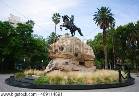 Monument Of General San Martin On A Horse On Plaza San Martin Square In Mendoza, Argentina