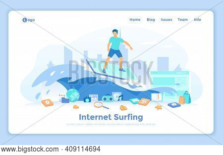 Internet Surfing. Online Search And Viewing Information On The Internet, Browsing. Man Riding A Wave