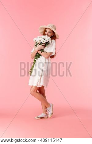 Full-length Vertical Shot Lovely, Romantic And Happy Redhead Girlfriend In Straw Hat, Cute Dress, Hu