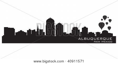 Albuquerque, New Mexico Skyline. Detailed Silhouette.