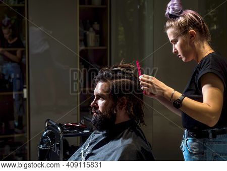 Barbershop. Male Trendy Hairdo. Perfect Haircut With Brush. Barber Master Cut Hair. Mature Hipster W