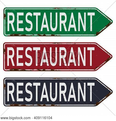 Grunge Route Sixty Six Restaurant Diner Arrow Guidepost Sign, Retro Style, Vector Illustration,