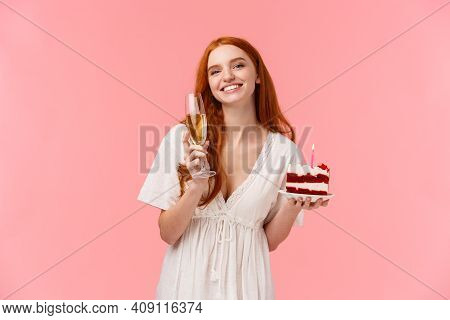 Lovely B-day Girl Celebrating At Her Party With Friends, Hearing Heartwarming Toast Smiling And Gazi