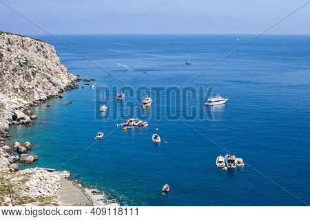 View of the Tremiti Islands. San Domino island, Italy: scenic view of tipycal rocky coastline. Adriatic Sea. Puglia, Italy.