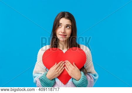 Dreamy Lovely And Shy, Thoughtful Attractive Woman Want Give Valentines Day Heart Cardboard To Expre