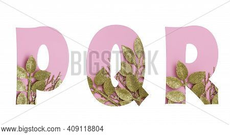 Floral Golden Glitter Pink Font Letters P,q,r Isolated On White