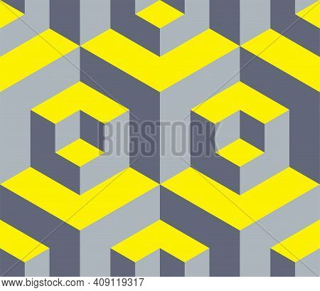 Geometric Ornamental Cubes Seamless Pattern With Volume Effect And Trendy Colors 2021 Yellow And Gra