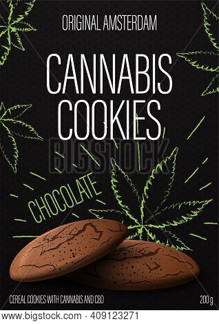Cannabis Cookies, Black Package Design With Cannabis Cookies And Marijuana Leafs In Doodle Style On