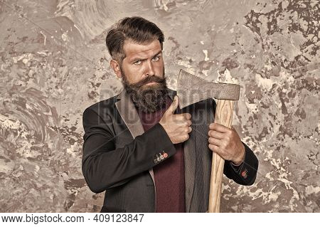 Retro Shaving. Bearded Man Hold Sharp Axe. Retro Razor Blade. Brutal Hipster Abstract Background. Re