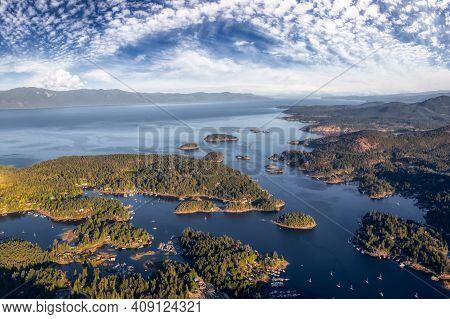 Sunshine Coast, British Columbia, Canada. Aerial View Of Beaver Island And Madeira Park During A Sun